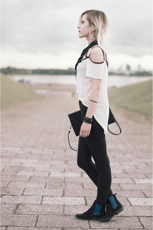 black asos tie - suede Jeffrey Campbell boots - black H&M pants