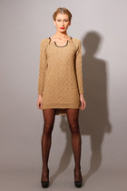 Hand Knit Sparkle Cashmere Zipper Sweater Dress