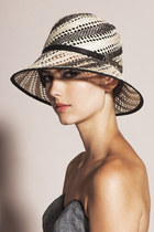 Striped Straw Cloche Hat