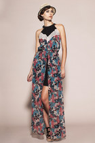 Titanium Dress- Silk Chiffon Halter Maxi Dress