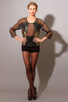 Sheer Silk Metallic Leather Raglan Top