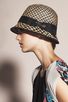 Straw Ribbon Safety Pin Cloche Hat