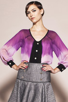 Polaris Top- Dip Dye Chiffon Button Up top