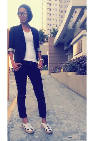 black G2000 woman blazer - shoes - black skinny jeans