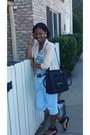 Baby-blue-jeans-jeans-tan-blazer-blazer-black-purse-bag