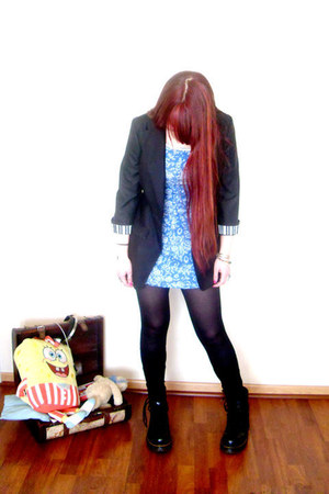 black boots - blue summer dress - black nice blazer - black leggings stockings