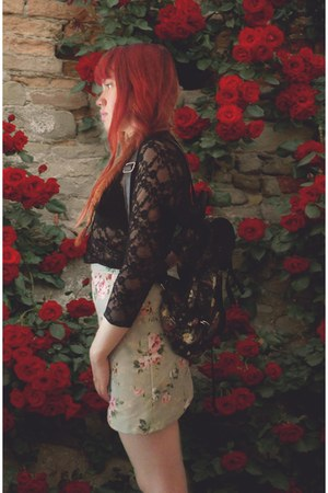 black floral print bag - black lace blouse - off white floral skirt skirt