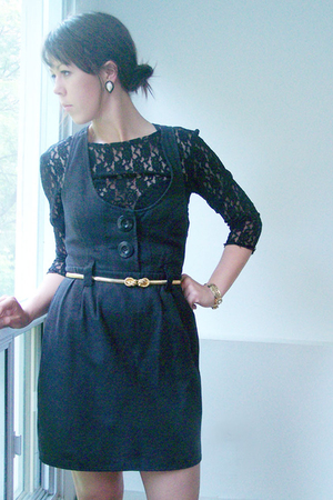 Zara dress - thrifted shirt - Garage Sale belt - thrifted bracelet