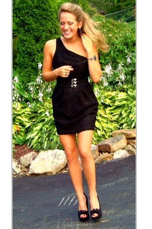 black Forever21 dress - black Forever21 belt - black Steve Madden shoes