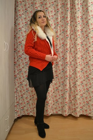 leather OASAP boots - Oasapcom leggings - Oasapcom cardigan