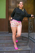 romwe shorts - black chicnova blouse - hot pink romwe heels