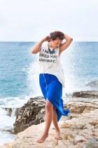 blue H&M accessories - off white H&M blouse - blue KaL skirt
