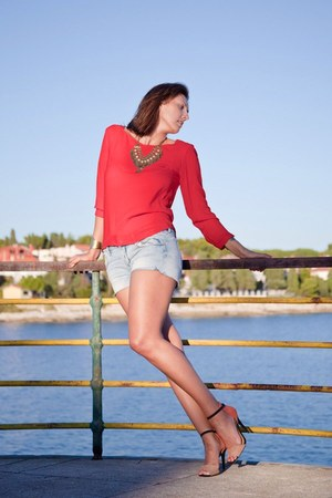 red Zara shirt - H&M shorts