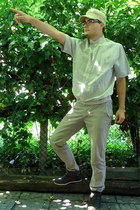 textile H&M hat - up-to the ankle VTY shoes - flax button up GumorJ shirt
