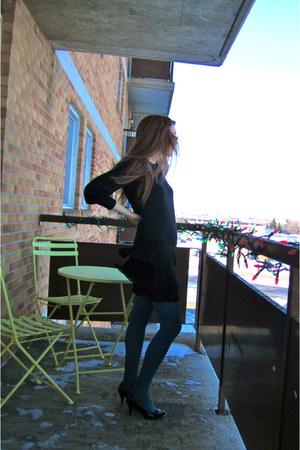 black modcloth dress - teal HUE tights - black Aldo heels