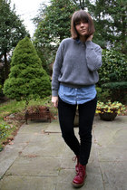 chambray H&M blouse - pascal doc martens boots