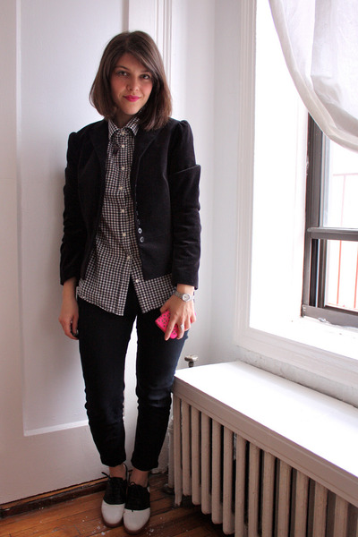 saddle Bass shoes - velvet Gap blazer - gingham Jcrew blouse - cropped BDG pants