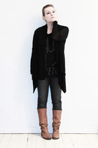 black H&M cardigan - black Lee jeans - black your eyes lie t-shirt - brown Marc