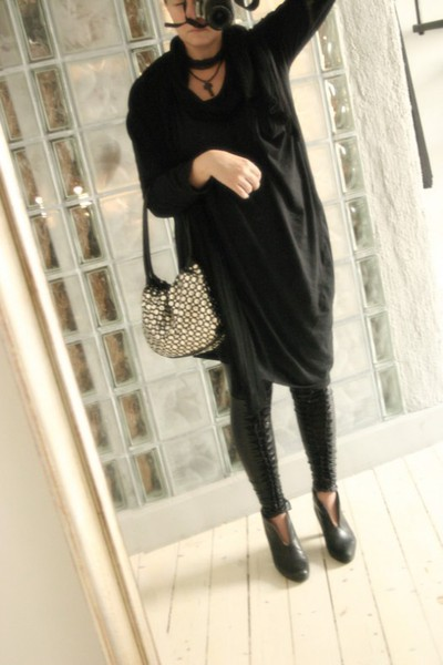 2or dress - GINA TRICOT leggings - H&M scarf - Sonia Rykiel purse - vagabond sho