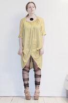 yellow Vero Moda Very dress - black DIY leggings - brown ASH shoes - black Pilgr