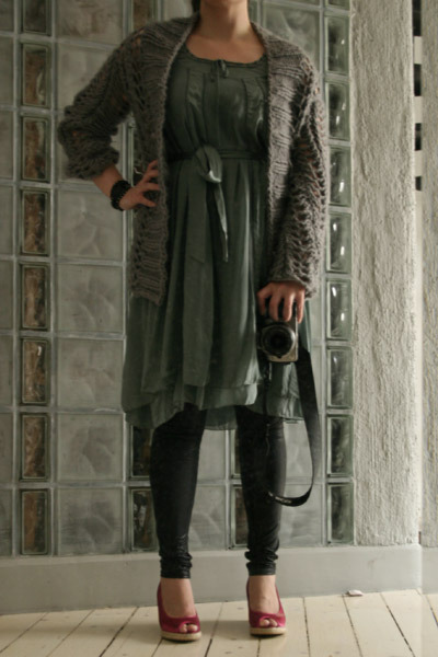 DIY jacket - H&amp;M dress - GINA TRICOT leggings - H&amp;M shoes