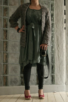 DIY jacket - H&M dress - GINA TRICOT leggings - H&M shoes