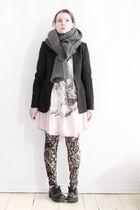 pink Zara dress - black Filippa K blazer - black vagabond shoes - beige Marjan P