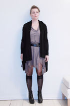 black H&M cardigan - black H&M belt - gray All Saints dress - black Rtzou boots