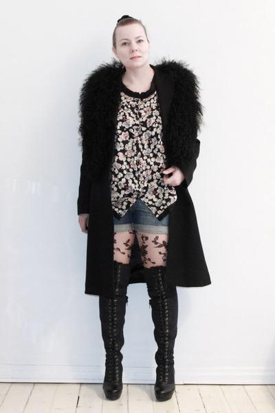 black Filippa K coat - black Zara second hand vest - beige H M tights - blue e66bba3fab5ed