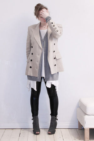 beige Escada thrifted blazer - silver COS cardigan - white GINA TRICOT t-shirt -