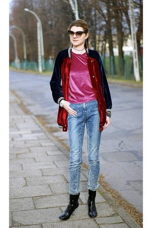 black AmiClubWear boots - blue asos jeans - brick red velvet Sheinside jacket
