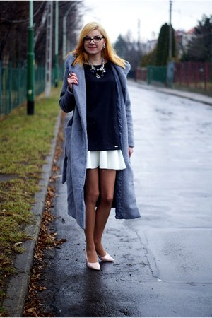 black Cosmosmoda dress - heather gray reserved coat - nude Orsay heels