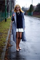 Gray coat + black dress