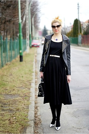 black Sheinside dress - black Zara jacket - black OASAP bag