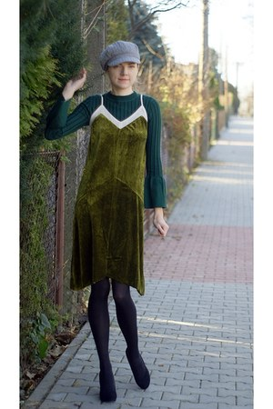 forest green StyleWe sweater - olive green velvet Rosewholesale dress