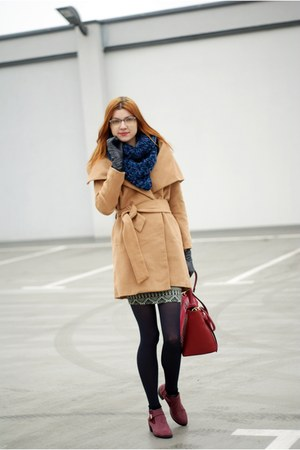 beige Sheinside coat - maroon romwe boots - blue polish shop scarf