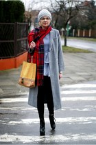 heather gray Sheinside coat - black tidebuy boots - red Rosewholesale scarf