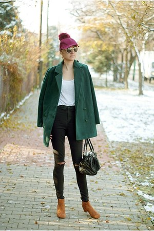 black Topshop jeans - burnt orange BonPrix boots - dark green StyleWe coat