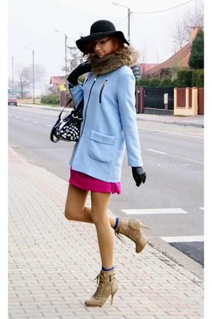 sky blue romwe coat - beige Atmosphere boots - hot pink new look dress
