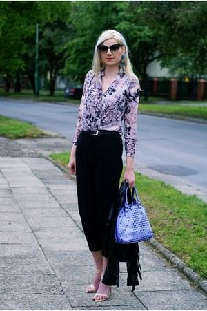 light purple chiffon H&M blouse - black leather fringle StyleMoi jacket