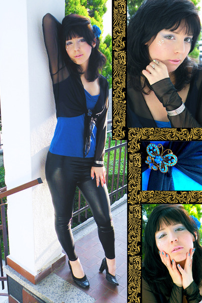 blue accessories - black leggings - black shoes - blue pologarage top - cardigan