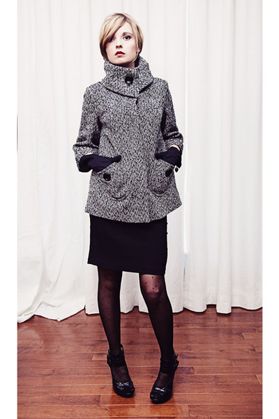 Forever 21 coat - black le chateau skirt - Rickis Fashion blouse - black Rickis