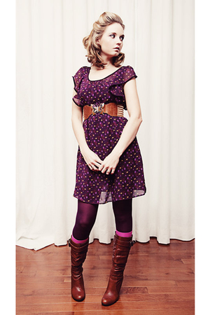 purple Forever 21 dress - brown unknown belt - purple unknown tights - pink winn