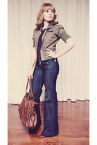 Bootlegger jeans - purple Rickis Fashion blouse - green unknown jacket - brown S