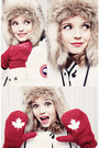 White-canada-goose-jacket-red-bay-gloves-h-m-hat