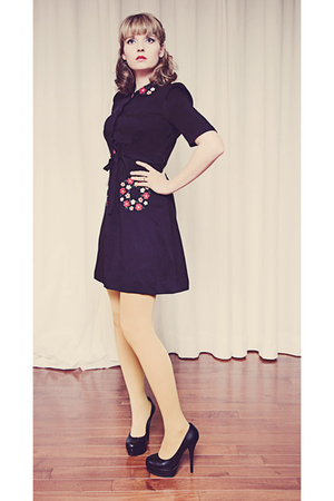 black unknown dress - gold Anthropologie tights - black Aldo shoes