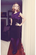 purple Forever 21 blouse - black le chateau skirt - black Aldo shoes - purple un