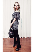 modcloth dress - black Aldo shoes - black unknown brand accessories - black Mexx