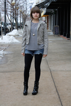 gray collection jacket - black Urban Outfitters t-shirt - alice  olivia for Payl