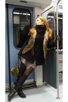 beige H&M cardigan - brown kara vest - black Steve Madden boots - black my desig